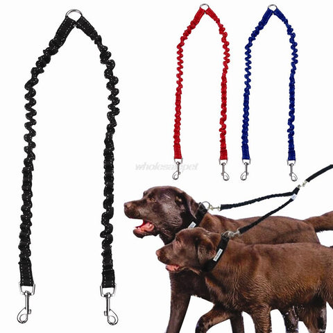 Double Dog Leash Elastic Bungee Pet Couple - trendymal.com