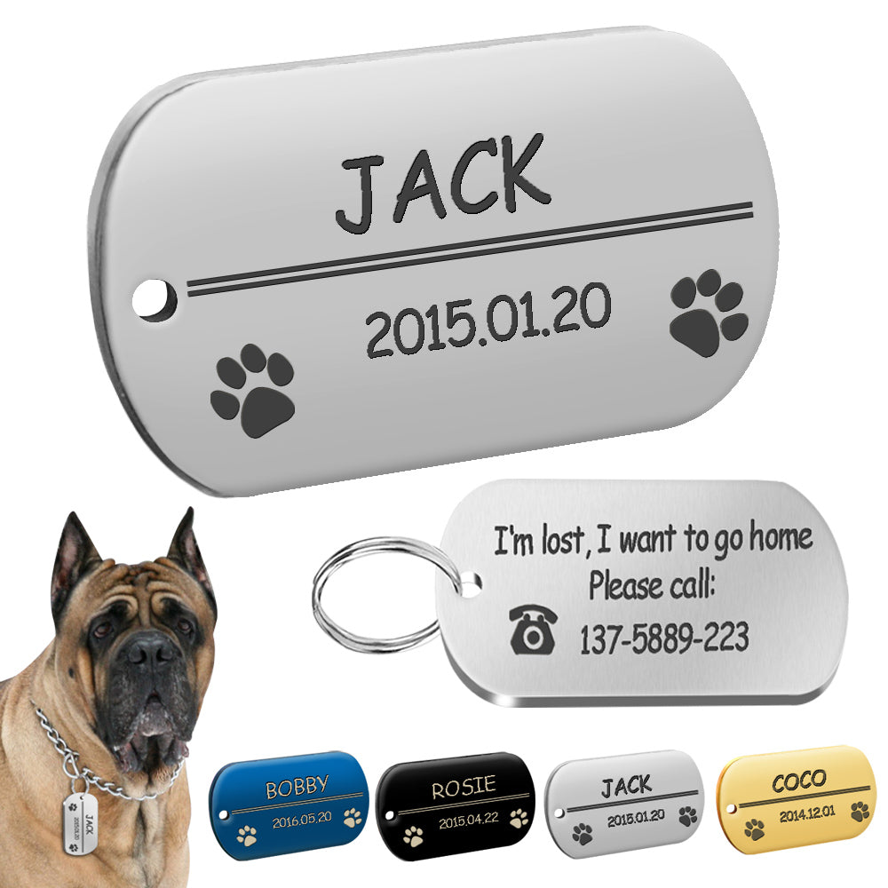 Metal Military Dog ID Tag Dog Accessories Customized Engraved for Pet Labrador - trendymal.com