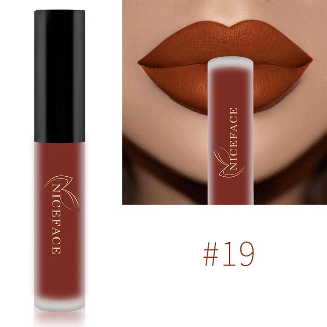 NICEFACE Lip Gloss 26 Colors Nude Matte Liquid Lipstick Mate Waterproof Long Lasting Moisturizing Lipgloss Lip Makeup Cosmetics - trendymal.com