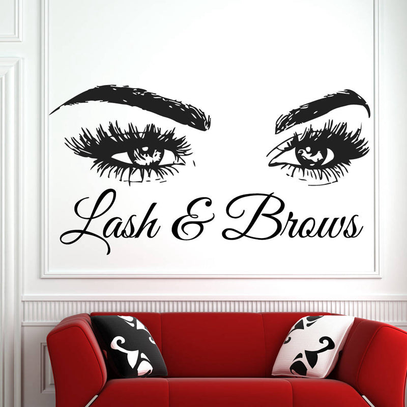 Lash & Brows Eyes Quote Wall Decor | wall stencils | High Quality Wall Stickers - trendymal.com