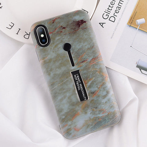 USLION Marble Case For iPhone 7 Plus XR XS Max Hide Ring Stand Holder Phone Cases For iPhone X 8 7 6 6s Plus Hard PC Back Cover - trendymal.com