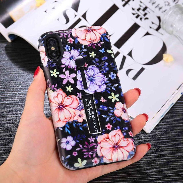 For iPhone 7 8 6s Plus Fashion flower silicon Ring Phone Cases - trendymal.com