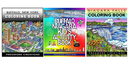 Unique locally themed Activity Book that includes mazes, Spot the difference, crossword puzzles, coloring pages and more.   The Buffalo & Niagara Falls Coloring Books challenge the artistic abilities of both kids and adults.