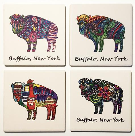 Buffalo Themed Absorbent Ceramic Coasters