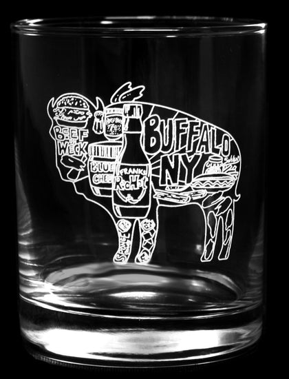 BUFFALO THEMED GLASSWARE