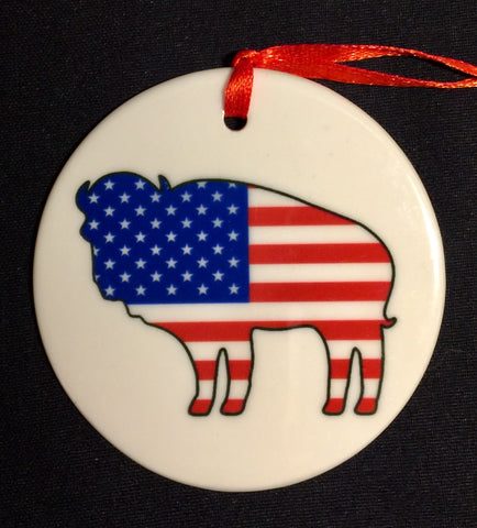AMERICAN FLAG BUFFALO ORNAMENT