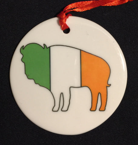 irish buffalo christmas ornament, buffalove, 716 Buffalo ny, buffalo glassware, billieve, buffalo gifts
