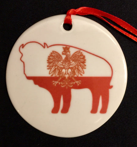 POLISH FLAG BUFFALO ORNAMENT