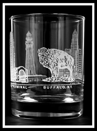 4 Buffalo Images Rocks Glass