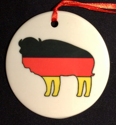 GERMAN BUFFALO FLAG ORNAMENT
