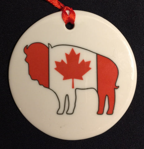 CANADIAN FLAG BUFFALO ORNAMENT