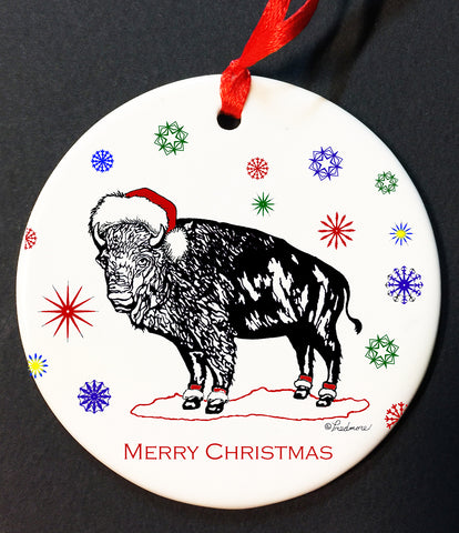 santa buffalo christmas ornament, buffalove, 716 Buffalo ny, buffalo glassware, billieve, buffalo gifts