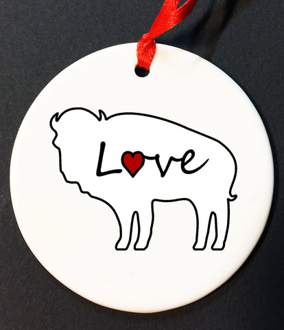 buffalo love christmas ornament, buffalove, 716 Buffalo ny, buffalo glassware, billieve, buffalo gifts, rustic buffalo,