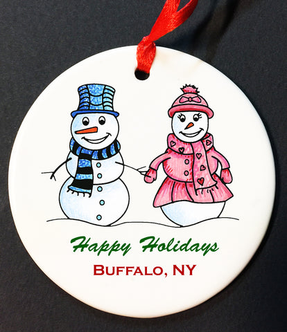BUFFALO SNOW COUPLE ORNAMENT