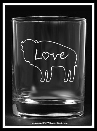 Buffalo Love Rocks Glass