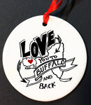 love you to buffalo and back christmas ornament, buffalove, 716 Buffalo ny, buffalo glassware, buffalo gifts