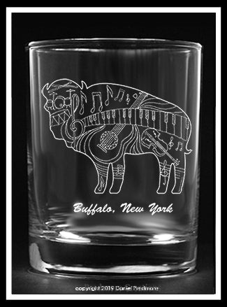 Music Buffalo Design Rocks Glass