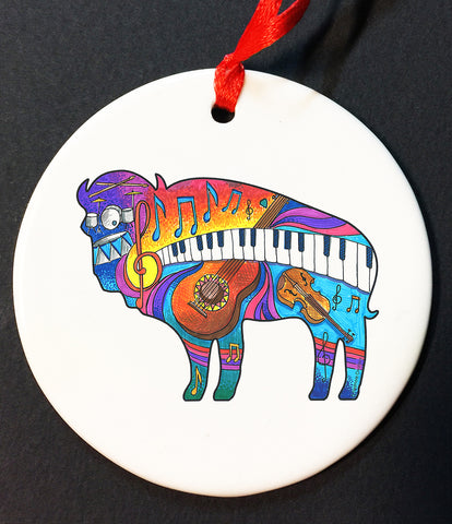 music buffalo christmas ornament, buffalove, 716 Buffalo ny, buffalo glassware, billieve, buffalo gifts