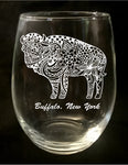 Buffalo Pattern Stemless Wine Glass