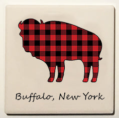 plaid buffalo, buffalove, ceramic coaster, buffalo ny
