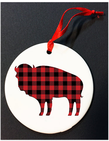 plaid buffalo christmas ornament, buffalove, 716 Buffalo ny, buffalo glassware, billieve, buffalo gifts