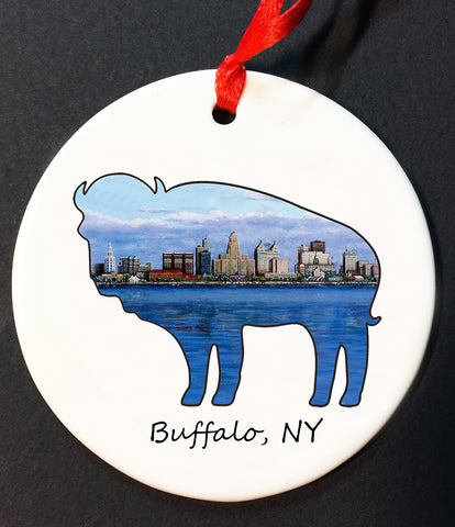 buffalo skyline christmas ornament, buffalove, 716 Buffalo ny, buffalo glassware, billieve, buffalo gifts