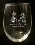snow couple stemless wine glass, buffalove, 716 Buffalo ny, buffalo glassware, billieve, buffalo gifts,