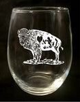 buffalove, 716 Buffalo ny, buffalo glassware, billieve, buffalo gifts, rustic buffalo, stemless wine glass