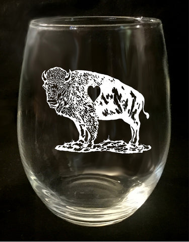 Buffalo Hollow Heart Stemless Wine Glass