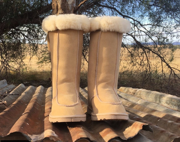 Aussie Uggs Long Jillaroo Boot. Long moccasin style boot. Genuine double face sheepskin. Hard rubber soles