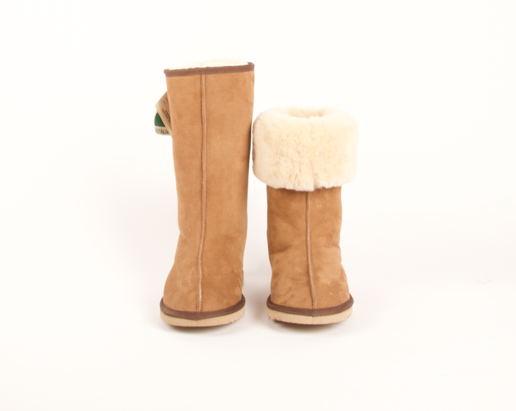 Aussie Uggs Long Snugg Boot. Below the knee height boot. Genuine double face sheepskin. Durable hard rubber/EVA blend sole. Handmade in Australia