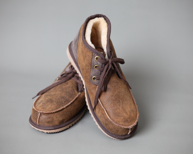 Brogue Lace-up. Genuine double face sheepskin. Lightweight and fully-fleeced inside. Outer surface has a full-grain, distressed, nappa leather like finish. Hard rubber soles. Handmade in Australia