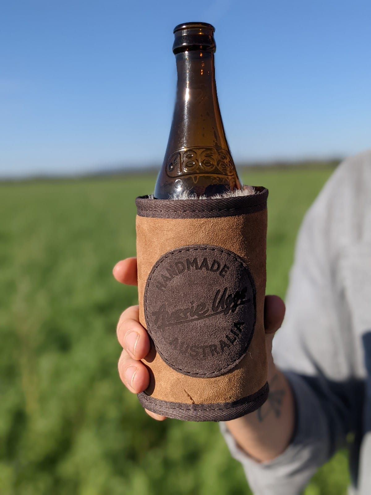 Aussie Uggs Stubby Holder, sheepskin beer cooler