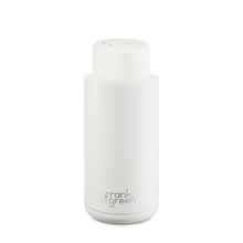 Load image into Gallery viewer, Frank Green Ceramic Reusable Bottle with Push Button Lid 1L (34oz) - Cloud White