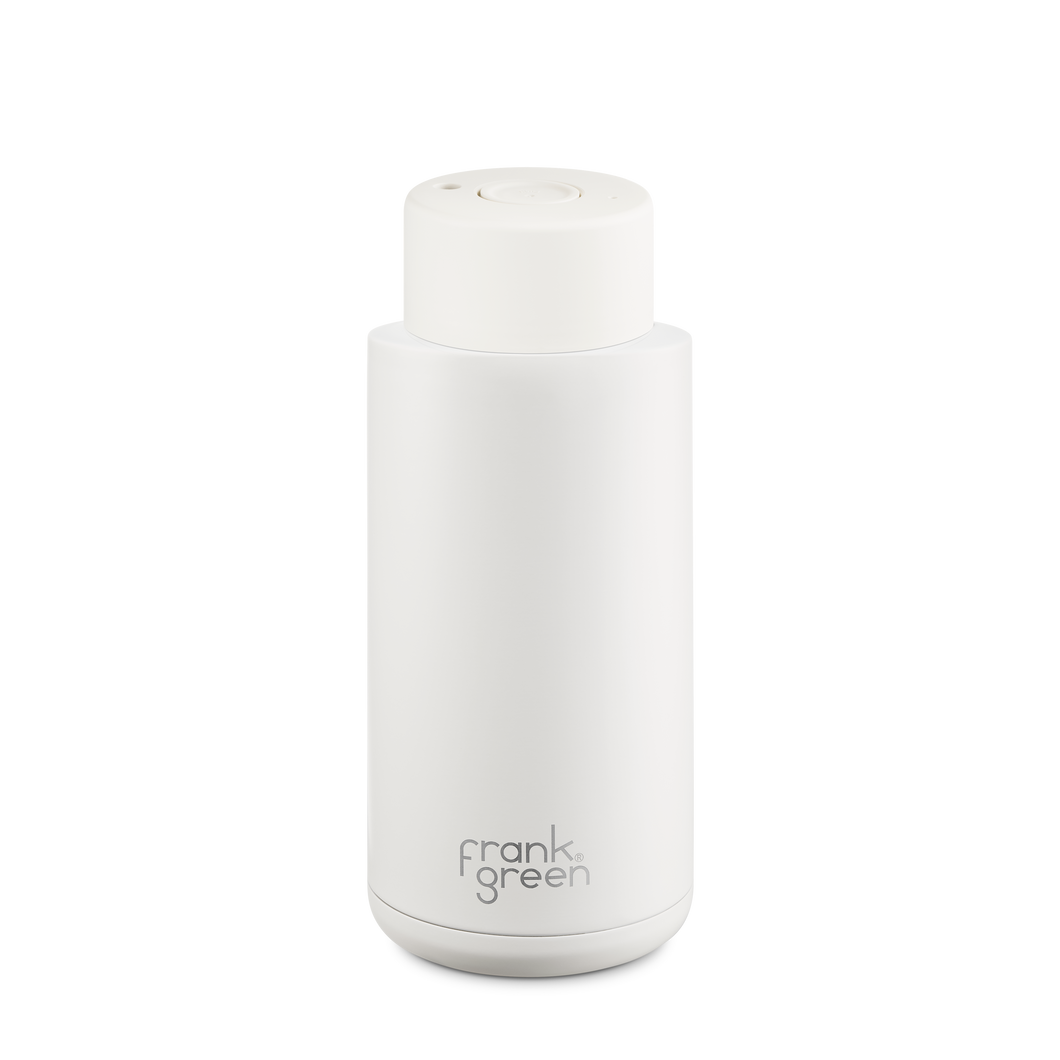 Frank Green Ceramic Reusable Bottle with Push Button Lid 1L (34oz) - Cloud White