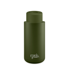 Load image into Gallery viewer, Frank Green Ceramic Reusable Bottle with Push Button Lid 1L (34oz) - Khaki Green