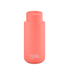 Load image into Gallery viewer, Frank Green Ceramic Reusable Bottle with Push Button Lid 1L (34oz) - Living Coral Orange