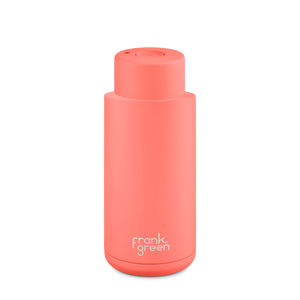 Frank Green Ceramic Reusable Bottle with Push Button Lid 1L (34oz) - Living Coral Orange