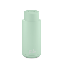 Load image into Gallery viewer, Frank Green Ceramic Reusable Bottle with Push Button Lid 1L (34oz) - Mint Gelato Green