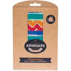 Apiwraps Reusable Beeswax Wraps - Kitchen Basics Pack (3 Pack - S, M, L)