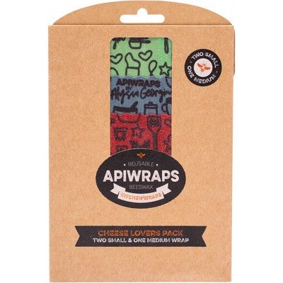 Apiwraps Reusable Beeswax Wraps - Cheese Lovers Pack (3 Pack - 2xS, M )