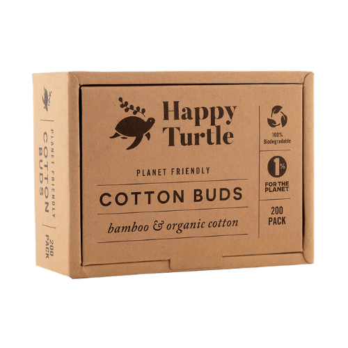 Happy Turtle Organic Cotton & Bamboo Cotton Buds – Flip Lid – 200 pack