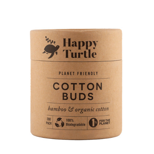 Happy Turtle Organic Cotton & Bamboo Cotton Buds – Round Tub – 200 pack