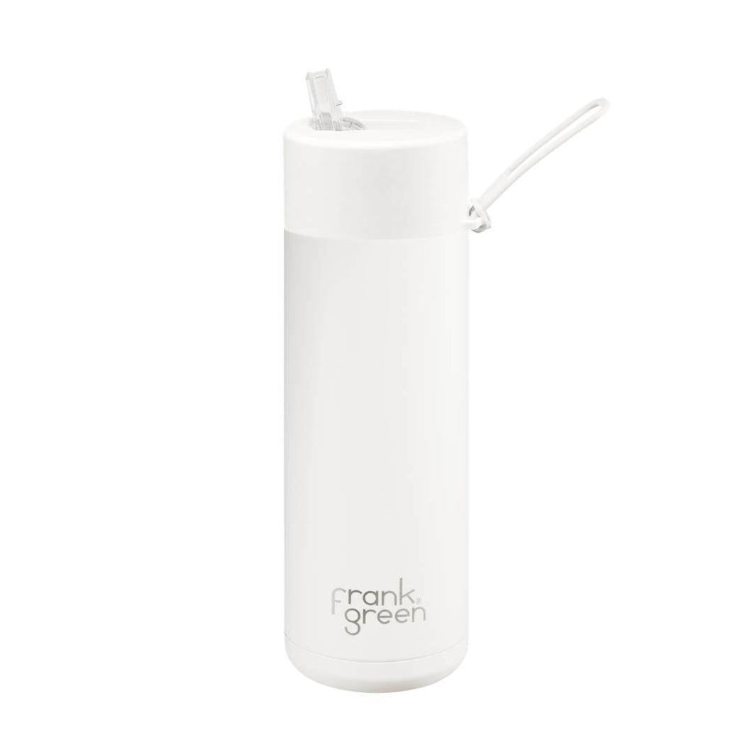 Frank Green Ceramic Reusable Bottle with Straw Lid 595ml (20oz) - Cloud White