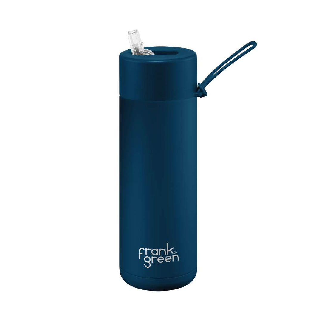 Frank Green Ceramic Reusable Bottle with Straw Lid 595ml (20oz) - Sailor Blue