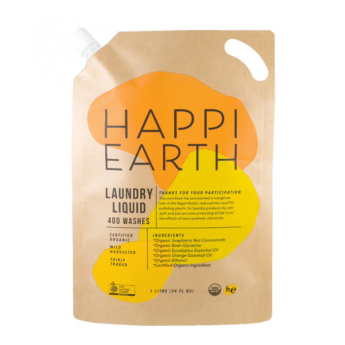 Happi Earth Laundry Liquid Ultra Concentrate - 1 Litre (400 Washes / 1 Year)