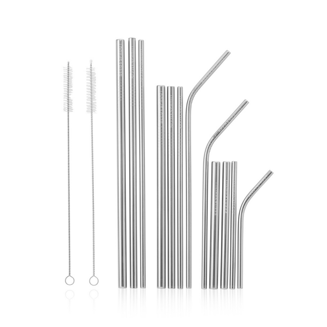 Seed & Sprout Stainless Steel Eco Straw Set and Brushes (12 Pack)