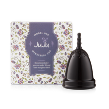 Load image into Gallery viewer, JuJu Menstrual Cup - Black Model 1