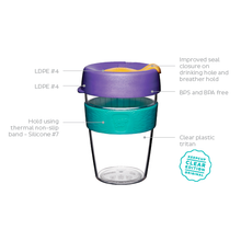 Load image into Gallery viewer, KeepCup Reusable Coffee Cup - Original Clear Medium 12oz Pink/Green (Willow)
