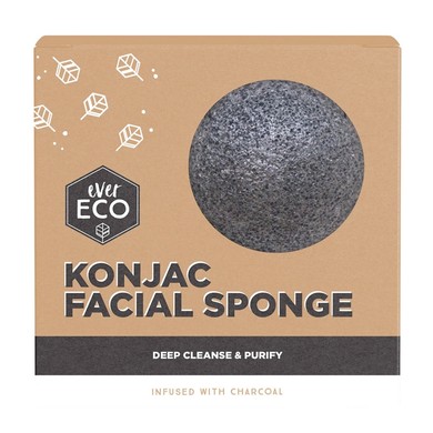 Ever Eco Konjac Facial Sponge - Charcoal Infused